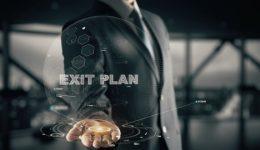Exit Plan with hologram businessman concept
