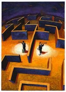 Maze men looking in for eachother