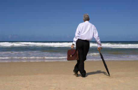 Senior man retirement beach vacation