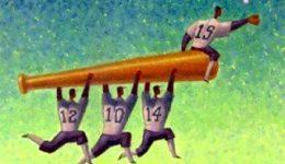 Teamwork baseball bat and team