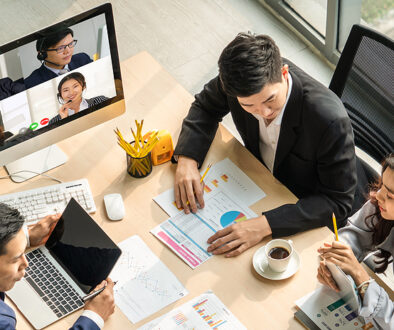 Video Call Group Business People Meeting On Virtual Workplace Or